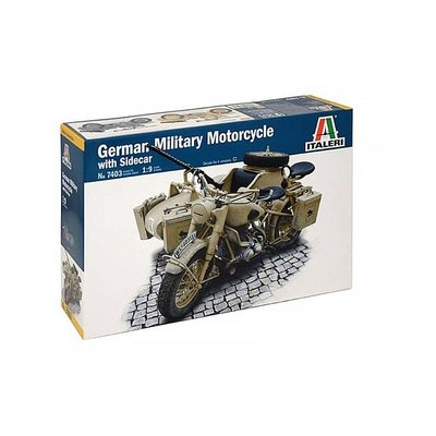 GERMAN MILITARY MOTORCYCLE WITH SIDECAR 1:9